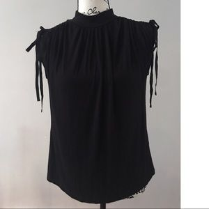 Anthropologie kali ruched sleeve top xs black
